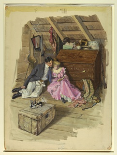 A young man and woman are seated on the floor of an attic.  The man looks over her shoulder at a book in her lap.