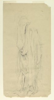 Female figure standing with gown draped over her right arm.