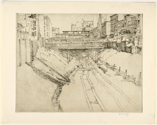 Print, Manhattan Subway Excavation, ca. 1936