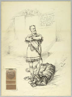 """Mayor of New York at the time, Abram Hewitt, imagined as a gladiator standing in an ampitheater with his foot on a tiger's neck. Abram wears a laurel wreath and toga. A hanging banner in the background reads: """"Lest we forget,"""" that while he was at the head of the government of New York City, he kept the beast under foot."""" Onlookers watch from above the wall. A cut out from a publication talking about a metal being presented to Abram is pasted onto the left bottom of the image."""
