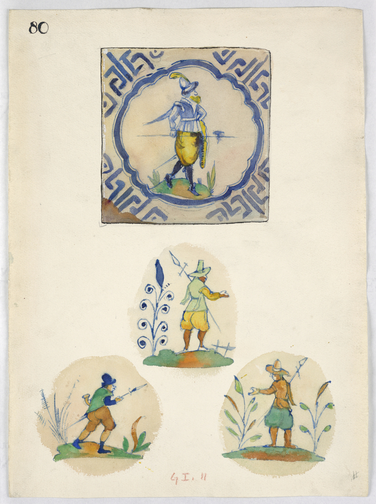 At top, a view of a tile with a marching halberdier surrounded with abstract cobalt design. Below, the central motif of three tiles, showing halberdiers with plants.