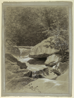 Vertical vie of stream running over a rock ledge toward the foreground with boulders at right, and birch and hard wood trees beyond.