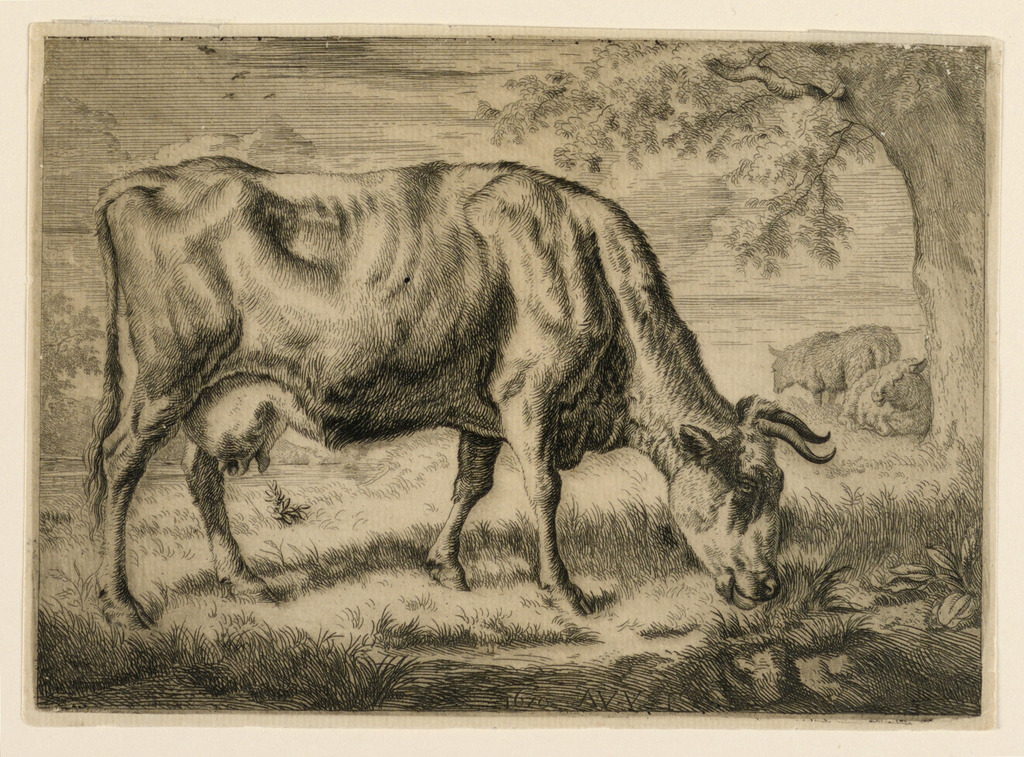 Print, Cow and Two Sheep at the Foot of a Tree