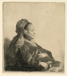 Half-length portrait of an elderly woman, seated, facing right in profile. Both hands are visible. She wears an Oriental headdress.