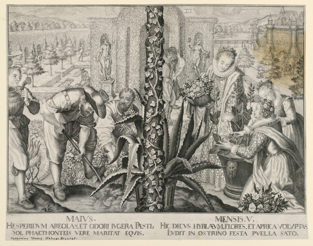 From a series of the months, after tapestries in Munich by Peter Candid. Figures of gardeners, left and ladies gathering flowers, right, scene divided by an ivy-grown pole in center. Garden setting.