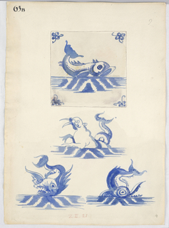 At top, a view of a tile showing a dolphin with its tail raised. Butterflies in the corners. Below, the central motif of three tiles, showing sea creatures.