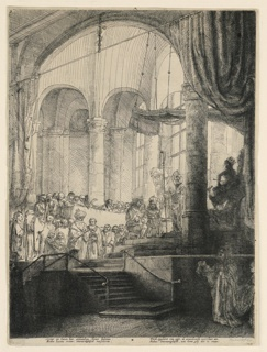 "Interior of an arched hall. The bridal couple kneel on a raisted platform in center. Large group of spectators in background from left to center. The sculptured figure of Juno, wearing a crown, at right, beneath a canopy. Two lines of verse in margin, signed and dated, lower right: ""Rembrandt f. 1648."""