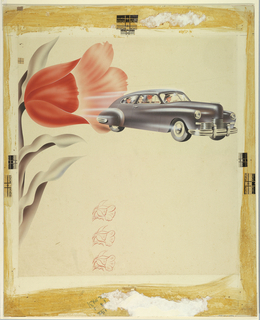 On cream ground, print for an advertisement; bleed marks indicated at upper and lower corners. At left, a large stylized tulip, half of the stem and leaves visible in black and green tones, the large red flower at top open and tilted towards the right. From the interior of the flower emerges a silvery black automobile; white lines behind the car indicate speed and movement. The car has an elongated body, two doors, and a gently curving roofline. Two dagmar-style chrome bumpers at the front. Within the car, a smiling male figure wearing a gray hat drives the vehicle, a smiling woman in a red hat in the passenger seat. In the backseat, another couple, each smiling and wearing hats. At lower center, three outlines of the tulip flower at upper left rendered in smaller scale, each stacked upon one another vertically. Discoloration at edges, portions of adhered backing tape at center left, top, and right edges. Inscribed numbers in blue color pencil at center lower margin.