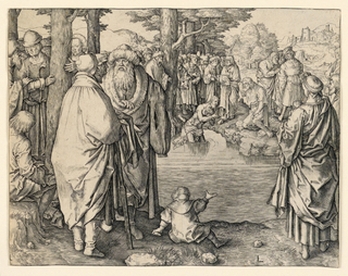 The river Jordan occupies the central part of the composition, with figures seen on both its banks. Christ is shown in water up to his knees near the far bank. St. John kneels on the ground, baptizing Him. Numerous figures line the shore.