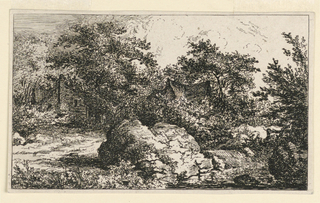 Wooded scene through which can be seen two hamlets, left and center. Large rock in foreground.