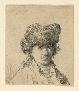 Bust length portrait of the artist, turned toward the right, looking out at the spectator, the head shown in three-quarters view. He wears a fur cap.