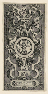 """Showing three boys and two putti, the three shield emblem, a cook standing in pots, """"HOVDT•DIE•COCK• / IN•EEREN."""""""