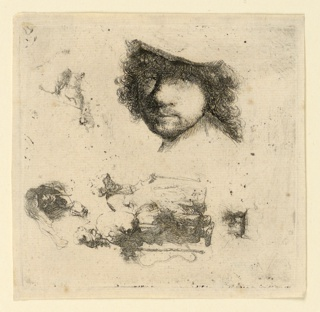 Sheet of studies: above, head of Rembrandt, facing the spectator; below, left to right, head of old woman, two beggars, head of old man (all facing in another direction).