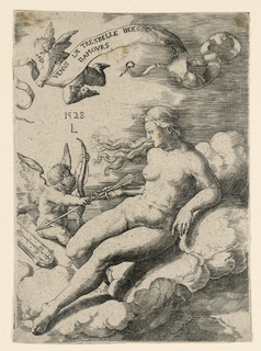 Venus seated on the clouds facing left. She and Cupid are holding onto an arrow. Above is another cupid carrying a banderole.