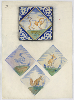 At top, a view of a tile with a lion surrounded with abstract cobalt design. Below, the central motif of three tiles, showing a stork, hare and fox.