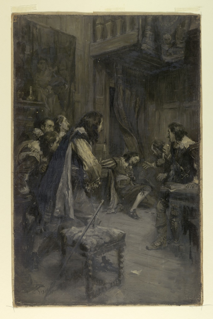 Surrounded by a group of astonished courtiers, the Duke of Buckingham slumps to the ground before a curtain.