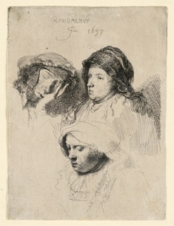 Print, Three Heads of Women, One Asleep, 1637