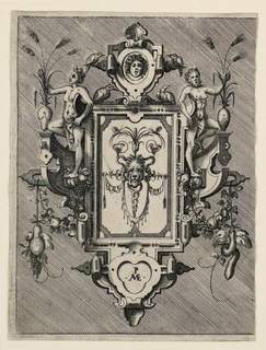 "Vertical rectangle showing a strapwork design. At center, a lion mask. Above, an aegis surrounded by birds and flanked by a semi-nude man and woman. Fruits hang from either side. At bottom center, a cartouche with initials ""P/ AVE(?)""."