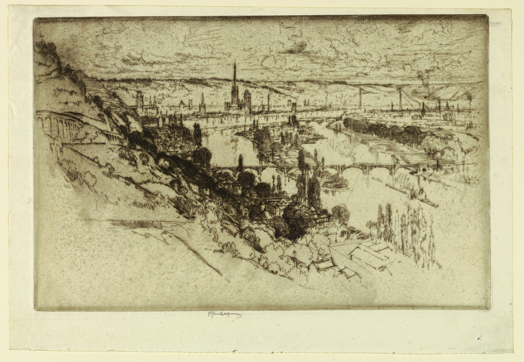 Print, Rouen from Bon Secours