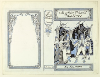 Front cover, right, title above, author below. Seven actors on stage, one, right, with a script. Center, the spine with title and author's name above, publisher's below. Left, a frame, with the comic and tragic masks.