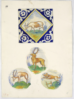 Vertical rectangle. One tile and the central motifs of three others, 17th century. Top: a tile with a cow. Center: a standing stag. Bottom: a grazing stag; a running dog.