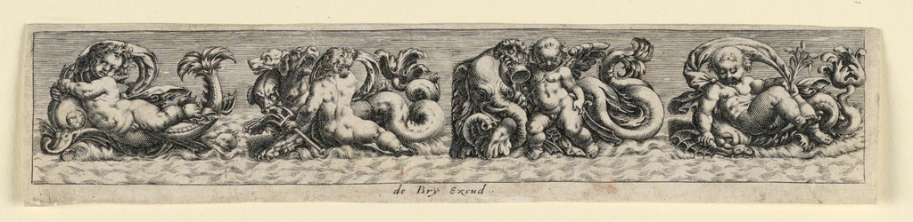 """Horizontal rectangle. Dolphins, dogs, elephants, and sea-monsters are bing ridden by putti. Inscribed below: """"de Bry Excud."""""""
