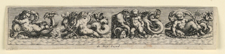 "Horizontal rectangle. Dolphins, dogs, elephants, and sea-monsters are bing ridden by putti. Inscribed below: ""de Bry Excud."""