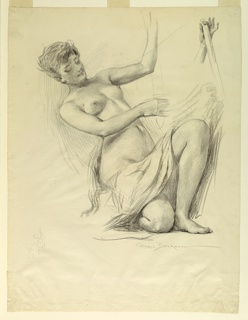 Vertical rectangle.  Woman kneeling on right knee, drapery across thighs; thorax bent backward; left arm raised, right arm extended across body; study of left hand, in which rests portion of a staff, at upper right.