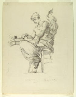 "Vertical rectangle.  Draped figure of a woman seated on a stool, seen from below level of ground line, turned half-way toward left.  Across knees a folio, to left corner of which hand is held, while right hand rests on a telegraph key.  Below figure, scale: 2-3/8"" to 1'0"", and title.  Centre line drawn through figure."