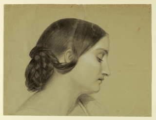 Bust portrait of a woman in right profile with her hair braided into a knot and her eyes directed downwards.