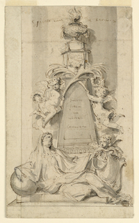 A woman crouches at the foot of an obelisk, leaning upon a sphere and holding a snake biting its tail, together with a putto who supports and escutcheon. A censer is on top of the obelisk before which two putti cross palm boughs, holding wreaths in their outside hands.  Written on the column: pilaer van der Kerck (against the pillar); in the obelisk: Swerte / steen / en / Witte / letteren (dark stone and white letters).