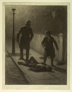 A boy lies on a sidewalk, while another stands over him. A policeman comes towards them. A street lamp lights the scene.