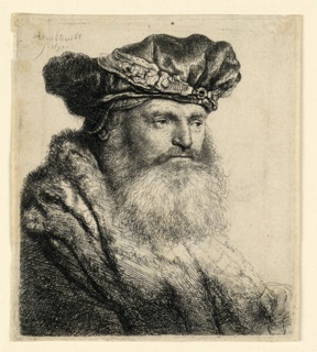 Bust length portrait of a bearded man, facing right, shown in three-quarters view. He wears a broad velvet cap with a jewel clasp.