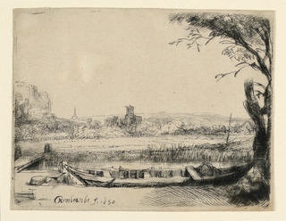 Print, Canal with a Large Boat and a Bridge, 1650