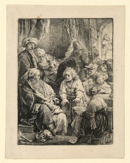 """Joseph is seen in the center of the composition, relating his dreams to his family. A young girl, her back turned partially to the spectator, sits at lower right, holding an open book. Signed and dated, lower left: """"Rembran(d)t f. 1638."""""""