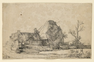 Man is seated in foreground, lower right, sketching a cottage with its attached barn. Farm animals near lower right.