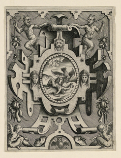 Vertical rectangle showing strapwork design. At center, Prometheus on Mount Caucasus. Above, a pair of satyrs holding clusters of fruit. Below, putti with masks and an owl.