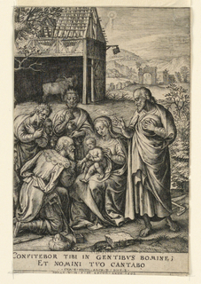 """The figures of the three kinds and the faces of two servants are to the left of Mary, with her Child on her knee, in the center. Joseph is standing at right. A stable and hills beyond. Below, """"Confitebor tibi in gentibus bomine; Et nomini tuo cantabo cum G. Paivil, Arch. D. Sing. B., Johan W. in. F.: Et excud. Anno 1602."""""""