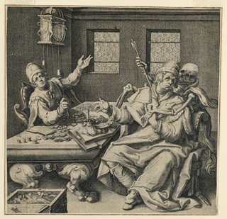 Horizontal rectangle. Two misers are seen seated at a table counting their fortune. The figure of Death plunges an arrow in the bosom of the one.