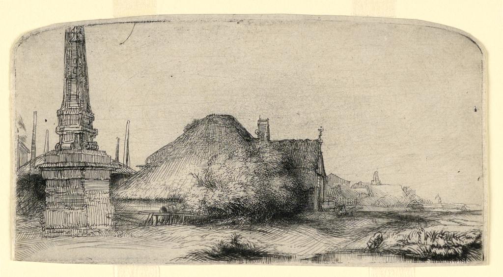 Print, Landscape with an Obelisk, ca. 1650
