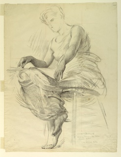 Vertical rectangle.  Draped figure of a woman seated on a stool, seen from below level of ground line, turned half-way toward left.  Across knee a folio, to left corner of which hand is held, while right hand rests on shelf.