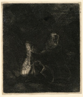 "At right scene: Joseph, carrying a lantern, leads the donkey bearing the Virgin and the Child. Figures move toward the lfet. Signed, lower right: ""Rembrandt f. 1651."""
