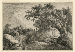Landscape scene with trees at right, and road winding through center. Two figures at horizon line, one on horseback. One figure seated at left-of-center foreground. Buildings seen in distance, at left.