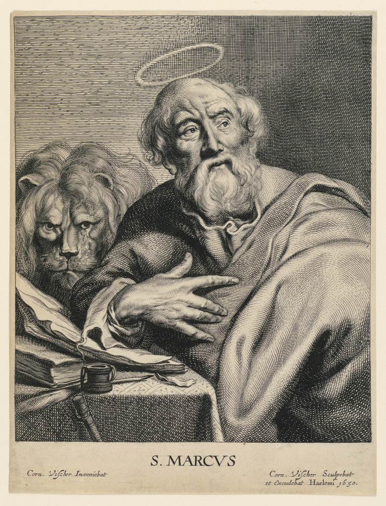 St. Mark is presented seated at a table on which his pen, ink pot, book and papers are placed. He holds his hand to his chest and looks toward the right. He is accompanied by his attribute, the lion who appears at left, just behind the Saint's shoulder.