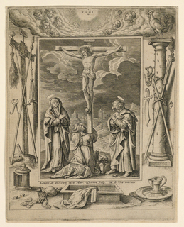 "Christ on the cross and the Virgin, St. Mary Magdalen, St. John. Broad frame with a glory and instruments of the Passion. Signed: ""Eduart. ab Hoeswin[ckel]. excu. Anto. Wierinx scalp. M. de Vos inuentor U."""