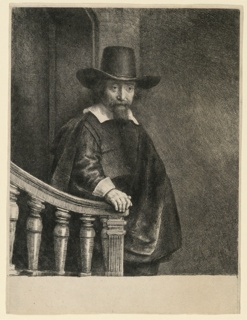Three-quarter length figure of a man, standing, turned toward the right, the head in three-quarter view, looking to right. His right hand rests on the banister. He wears a cloak and broad-rimmed hat.