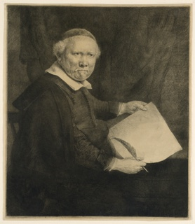 Three-quarter length figure of a seated man, turned towards the right.  He holds a sheet of paper in his hands and a quill pen in his right hand.