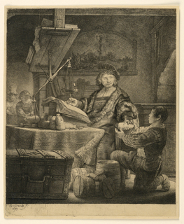 Print, Jan Uytenbogaert, 'The Goldweigher', 1639