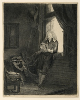 Interior, shown in deep shadows, the light coming from window at right. The subject is represented standing, leaning against the window-sill, facing the spectator. He is reading, the book held with both hands.
