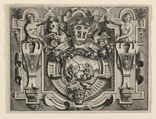Print, Strapwork Grotesque with Scene from Ovid